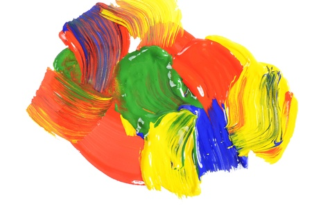 dabs: Abstract dabs colour paints on white background