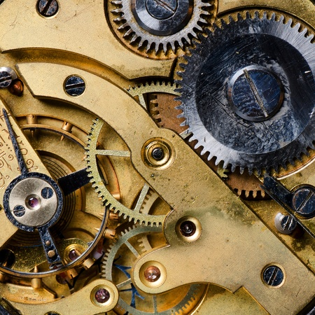 The mechanism of an old watch close-up Stock Photo - 12889494