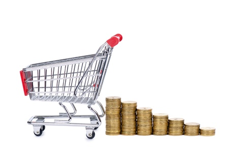 Shopping cart and coins isolated on white Stock Photo - 12889484