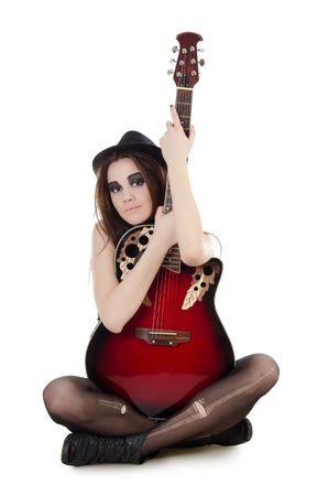 sexy guitar: Girl with a guitar - grunge style