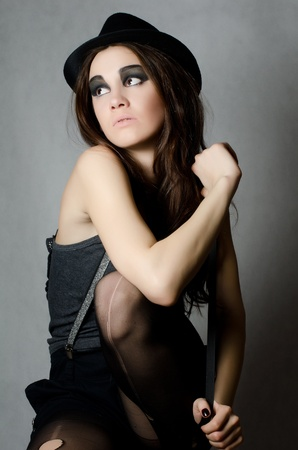 stocking cap: Portrait of beautiful girl - grunge style