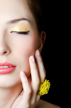Portrait of elegant girl with evening make-up photo
