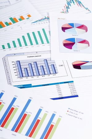 life plan: Graphs, charts, business table. The workplace of business people. Stock Photo