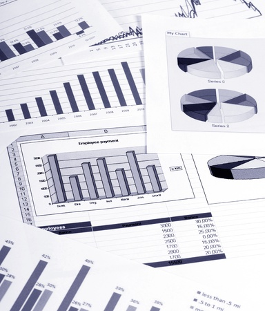 Graphs, charts, business table. The workplace of business people. Stock Photo - 12889703