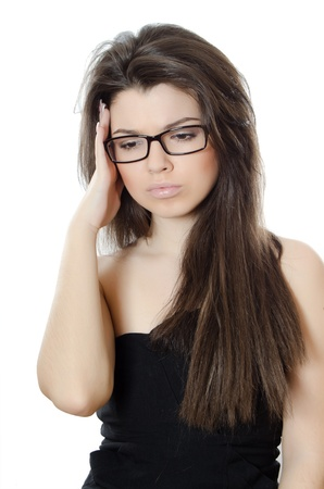 Beautiful girl in spectacles isolated on white Stock Photo - 12889654