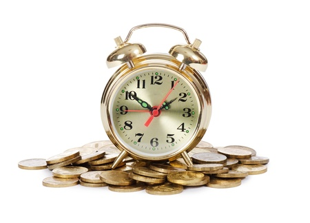 Alarm clock and money isolated on white Stock Photo - 12984940