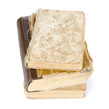 Pile of old books isolated on white Stock Photo - 12984825