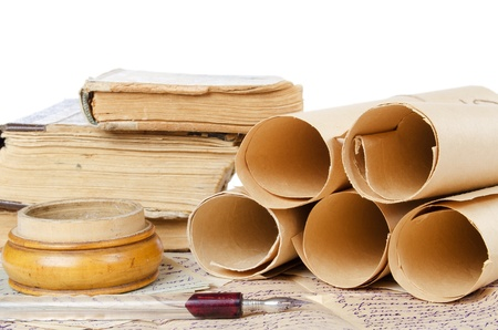 Many ancient scrolls on old letters -retro photo