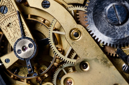 old watch: The mechanism of an old watch close-up Stock Photo
