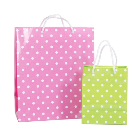 commercial recycling: Bright gift bags isolated on white background Stock Photo