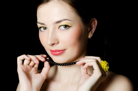 Portrait of elegant girl with evening make-up photo