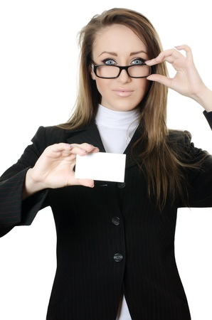 The business woman with the card isolated photo