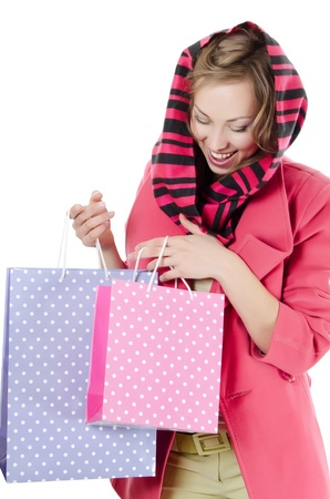 The beautiful girl with purchases Stock Photo - 13078987