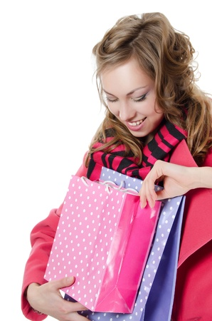 The beautiful girl with purchases Stock Photo - 13079031