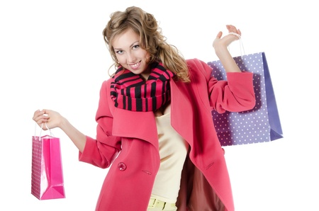 The beautiful girl with purchases Stock Photo - 13067191