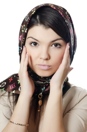 moslem: The beautiful girl in scarf, the Moslem Stock Photo