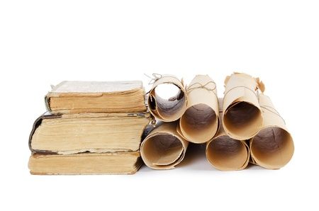 the arts is ancient: Many ancient scrolls and old books isolated