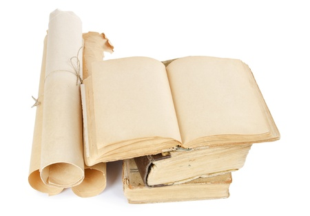 Many ancient scrolls and old books isolated Stock Photo - 13077503