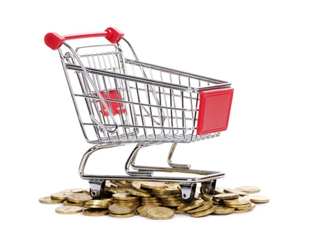 Shopping cart and coins isolated on white Stock Photo - 13077492