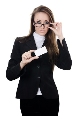 The business woman with the card isolated Stock Photo