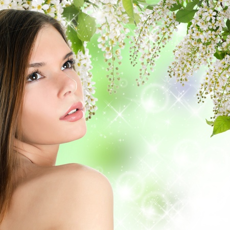 The beautiful woman with spring colours. Skincare photo