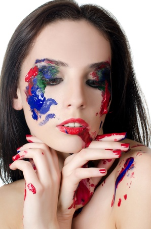 bodypaint: Beautiful woman with a paint on face