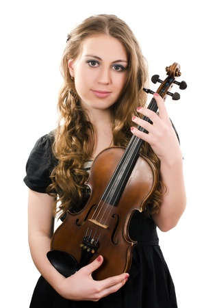 The beautiful girl with a violin isolated photo