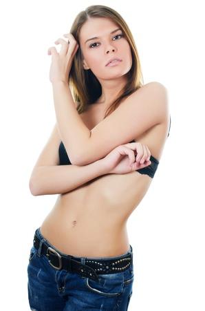 black bra: Portrait of girl in jeans and underwear