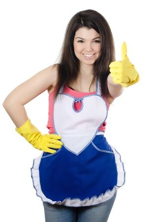 jasschort: Het portret van meisje - concept Reiniging Stockfoto