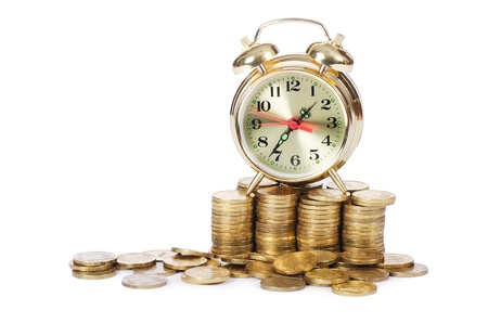 time money: Alarm clock and money isolated on white