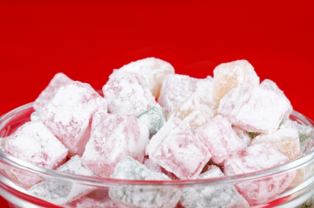 locum: the turkish delight on a red background