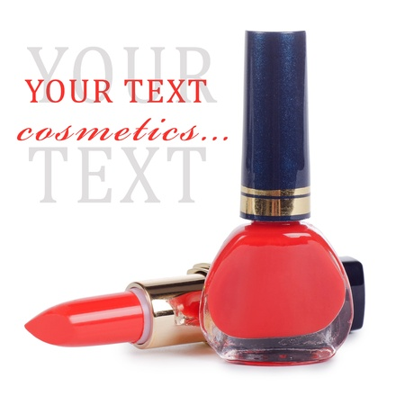 Nail polish and lipstick of red color photo