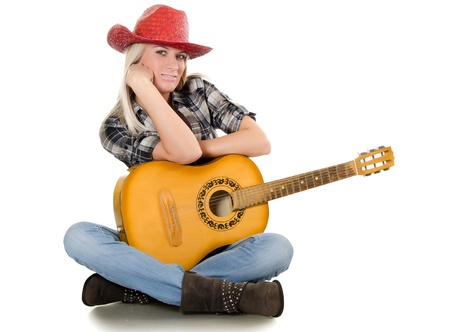 sexy guitar: The beautiful girl in a cowboys hat