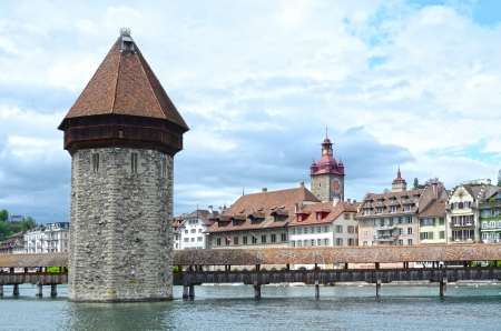 Panoramic view of Chapel Bridge, famous covered wooden bridge. Lucerne Switzerland photo