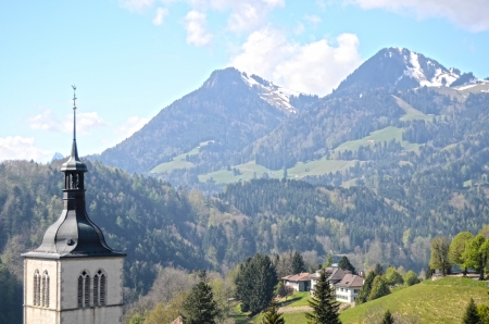 View on church  near Gruyere castle, Switzerland photo