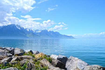Mountain and Geneva lake, Switzerland