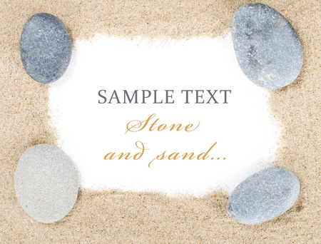 The stones on sand isolated on white Stock Photo - 13756633