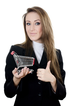 The business woman with the shopping cart Stock Photo - 13756598
