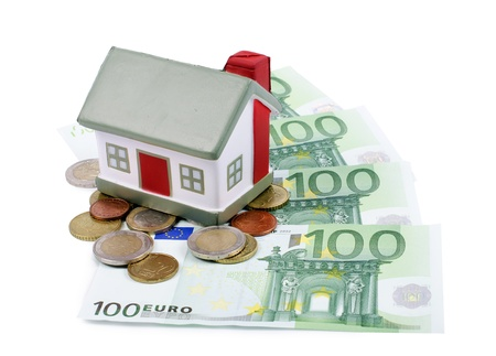 The toy house for euro banknotes isolated