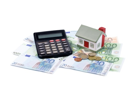 euro banknotes: toy house for euro banknotes as background