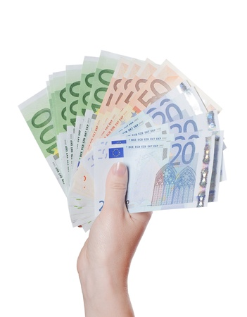 Euro banknotes in hand isolated on white photo