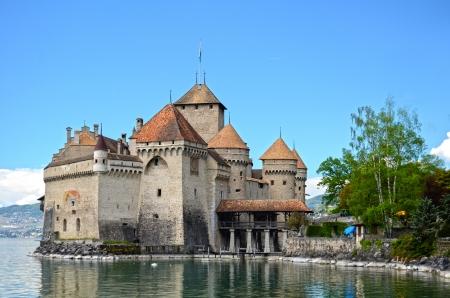 convict lake: Chillon Castle at Geneva lake in Switzerland. Editorial