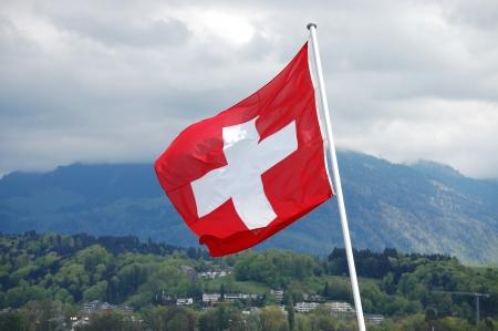 wallis: Beautiful mountain  with Swiss flag - Swiss Alps