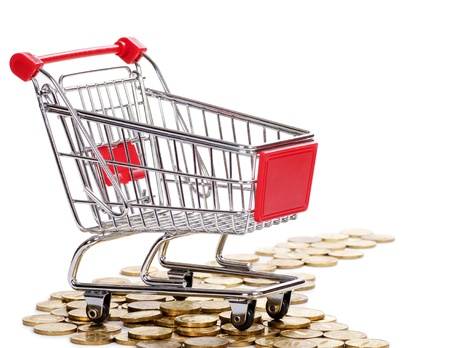 Shopping cart and coins isolated on white Stock Photo - 13907288