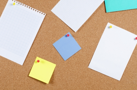 collection of various note papers on corkboard Stock Photo - 13907333