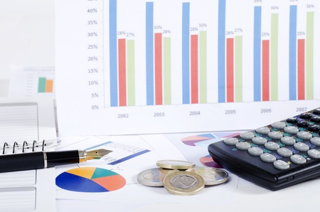 Graphs, charts, business table. The workplace of business people. Stockfoto