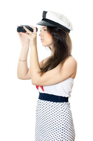 The sailor girl isolated on white background photo