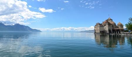 switzerland flag: Chillon Castle at Geneva lake in Switzerland. Editorial