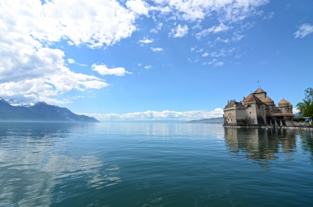 Chillon Castle at Geneva lake in Switzerland. Stock Photo