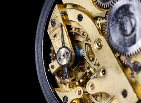 The mechanism of an old watch close-up photo